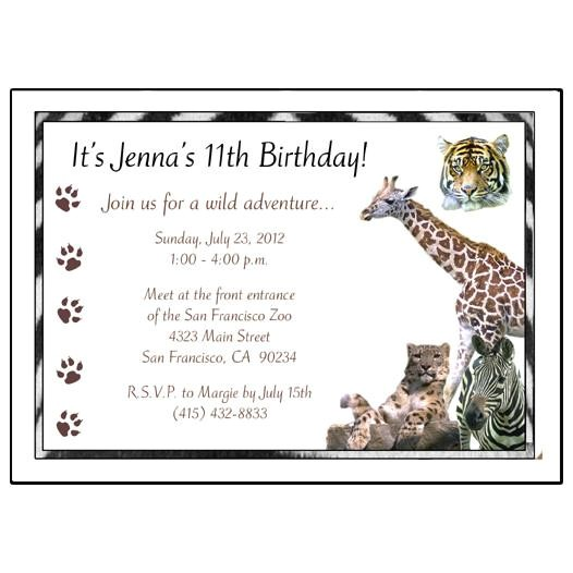 jungle safari wild animal birthday party invitations