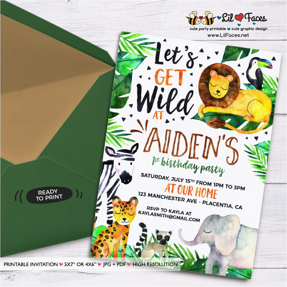 jungle invitation printable jungle birthday photo invitation elephant lion zebra printable safari invitation wild animal watercolors