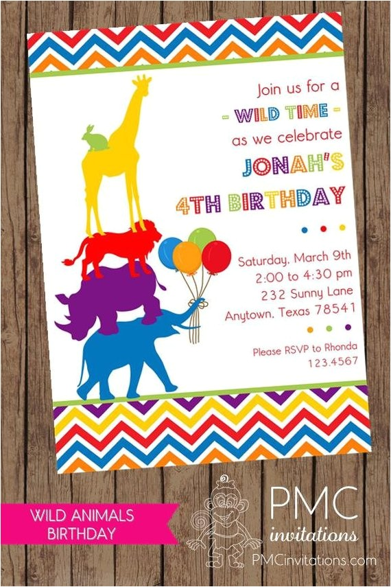 wild animals birthday invitations envelope