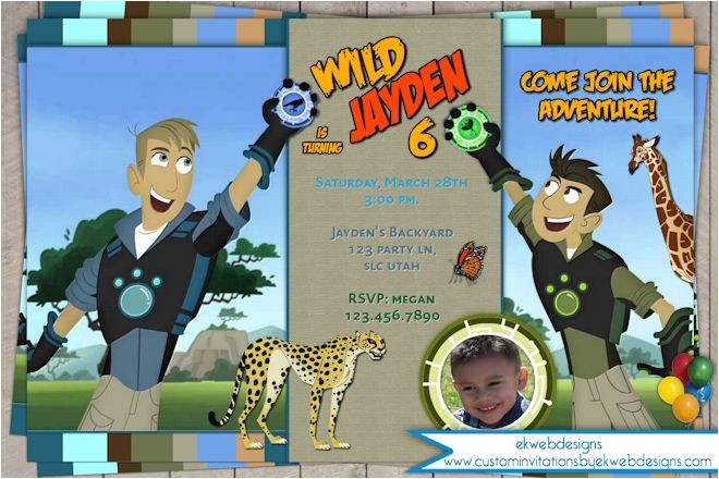 wild kratts birthday invitation customized with or without photo