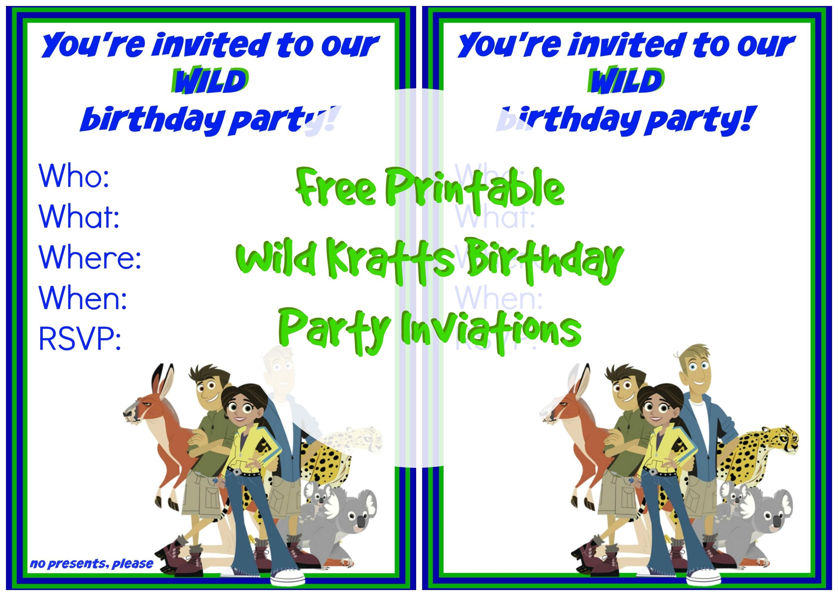 Wild Kratts Party Invitations Wild Kratts Birthday Party Invitation 1