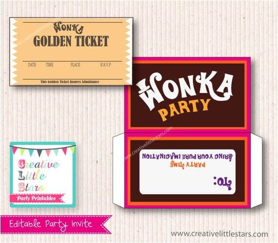 willy wonka birthday invite diy