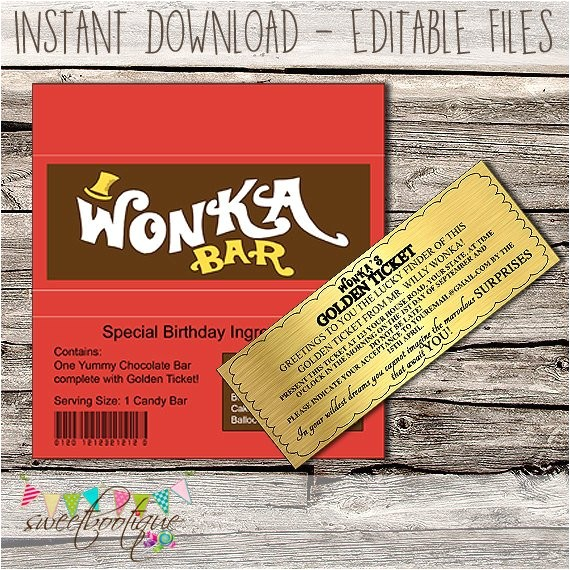 willy wonka golden ticket invitation chocolate 2