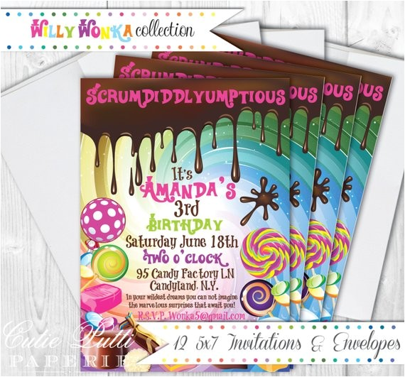 willy wonka party invitations 5x7 custom