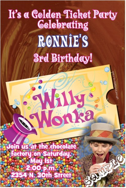 willy wonka birthday invitation