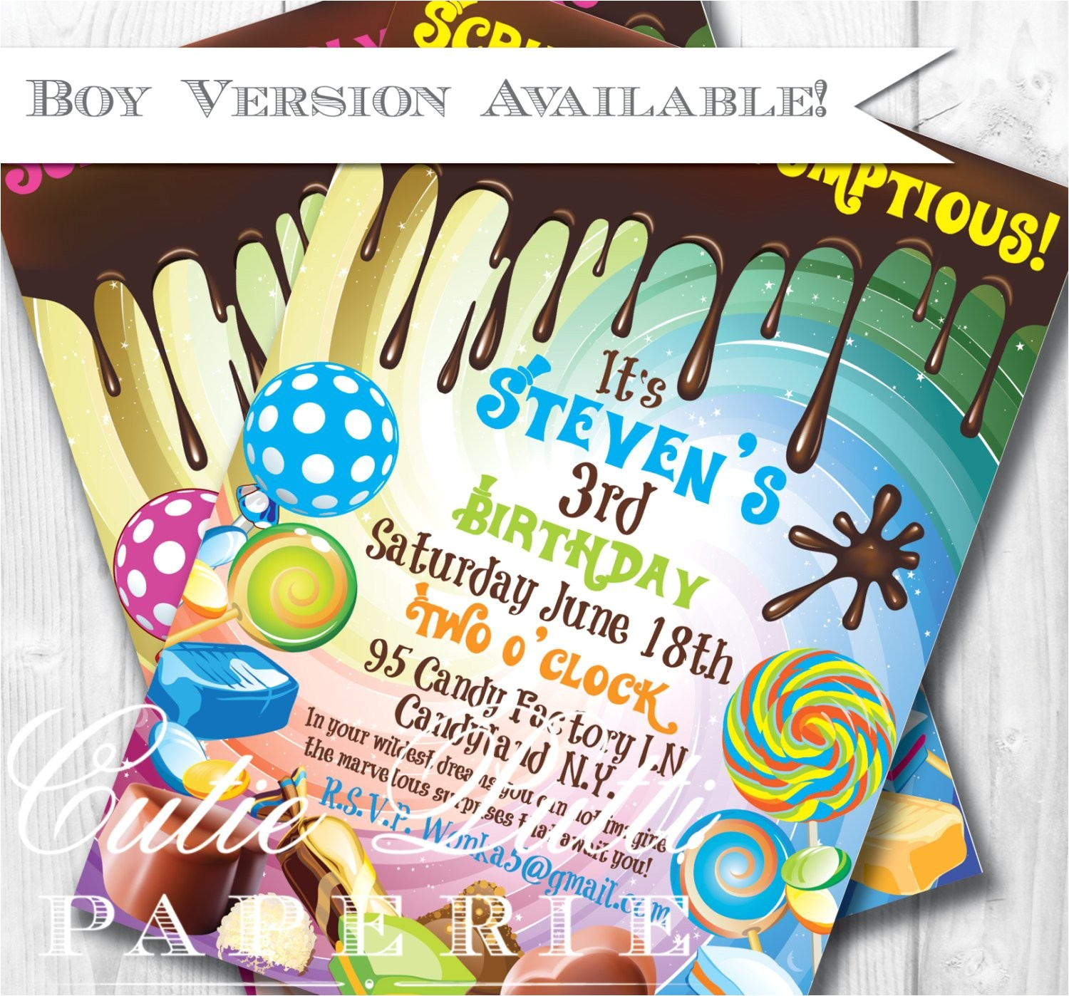 willy wonka birthday invitations