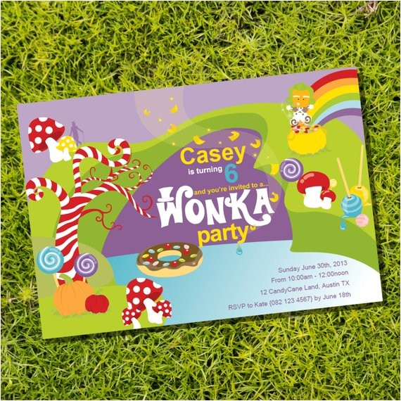 willy wonka birthday party invitation
