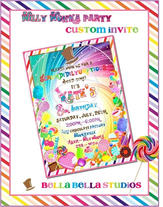 willy wonka inspired custom invitation