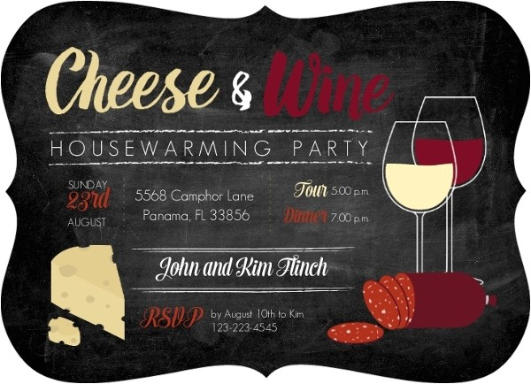 cheese and wine housewarming party invitation