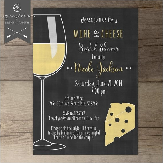 wine and cheese invitations chalkboard