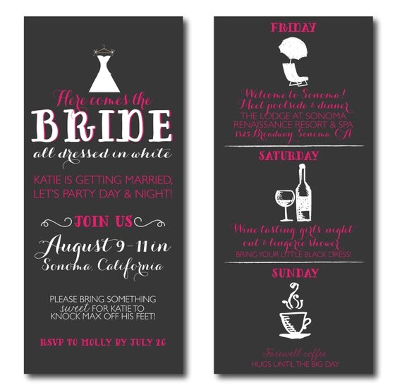 bachelorette invitations with itinerary