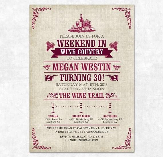 wine tasting invitation printable 30th