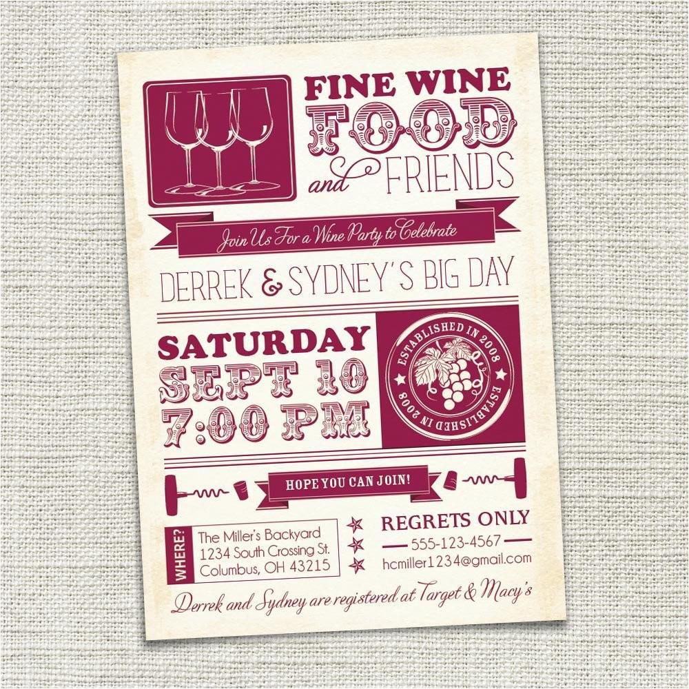 wine party invitation wine tasting
