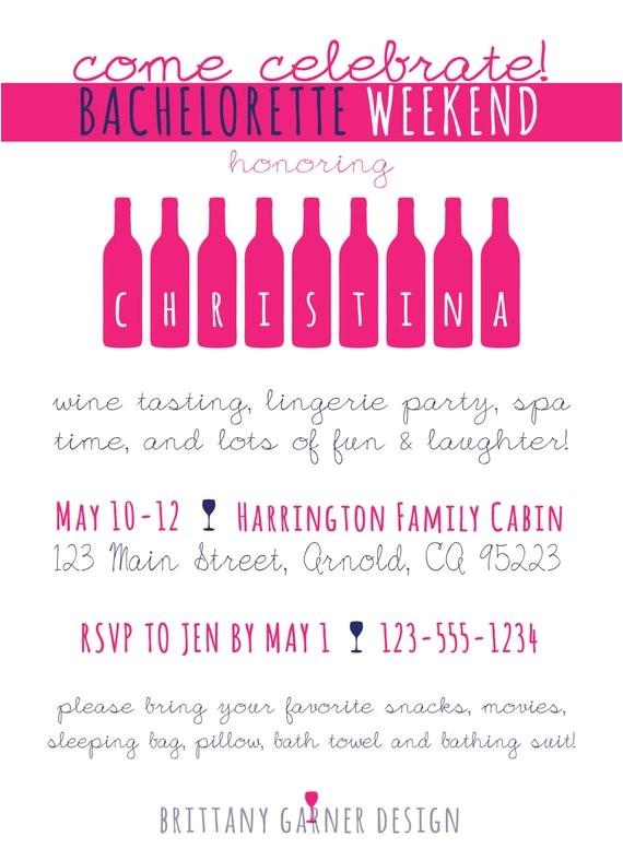 bachelorette party invitation wine