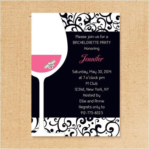 pink and black wine themed bachelorette invitation ideas ewbi018