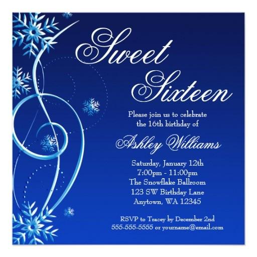 blue swirl winter wonderland sweet 16 invitation 161432415672194290