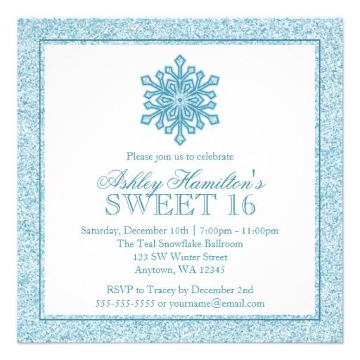 glitter snowflake teal sweet 16 winter wonderland invitation 161498096115516585