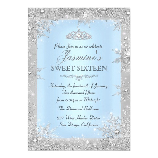 silver winter wonderland blue sweet 16 invitation 256839277221839089