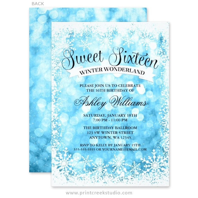 Winter Wonderland Sweet 16 Party Invitations Sweet 16 Winter Wonderland Blue Glitter Lights Invitations