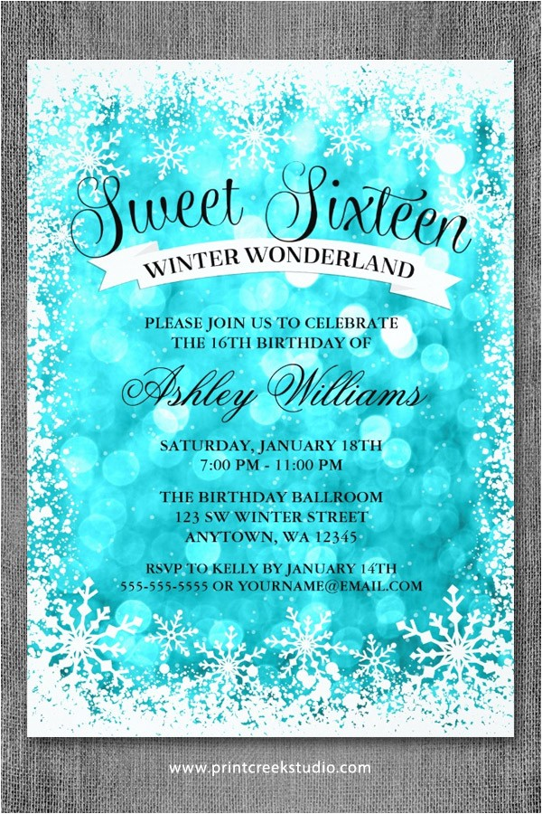 sweet 16 winter wonderland glitter lights invitations