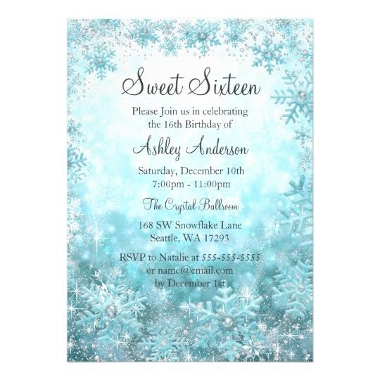 sweet 16 winter wonderland sparkle snowflakes card 256701709723519146