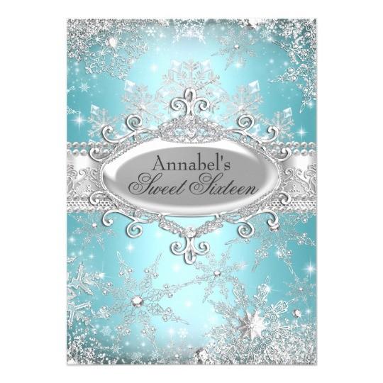 teal princess winter wonderland sweet 16 invite 161419718782404109