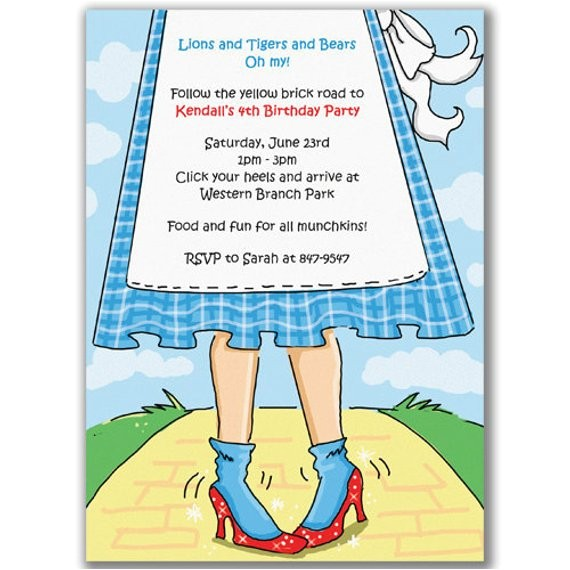 ruby slippers invitations for wizard of