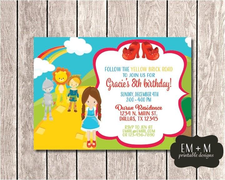 wizard of oz birthday invitation dorothy