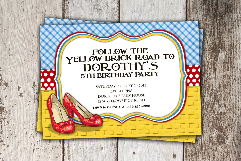 wizard of oz birthday invitation follow