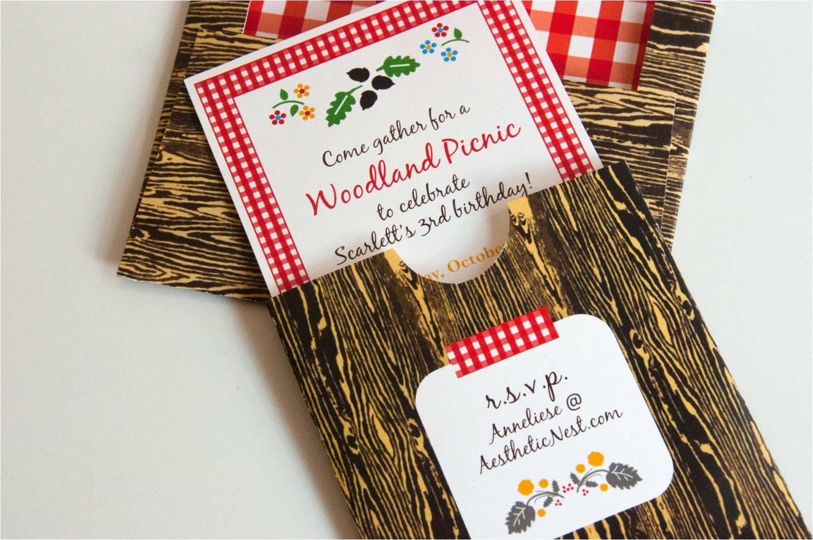invites woodland picnic birthday