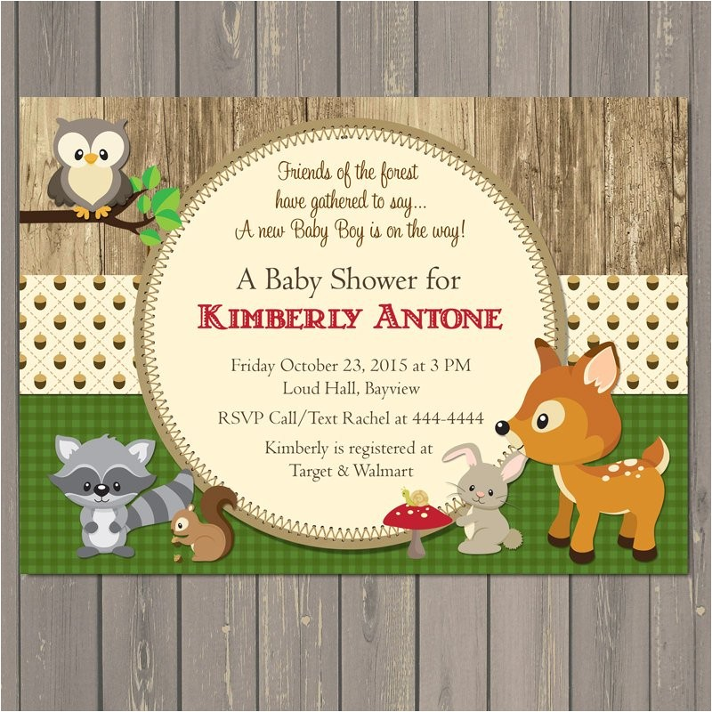 woodland baby shower invitations forest