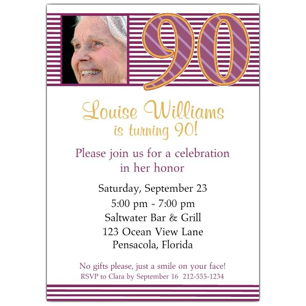 90th birthday party invitations wording