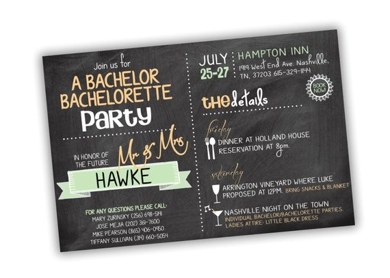 bachelor bachelorette party invitation