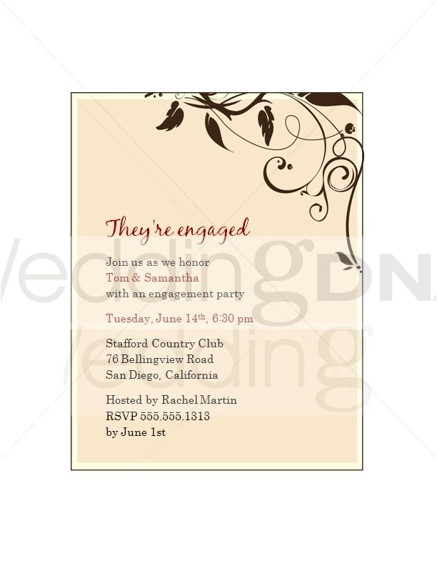 engagement party invitation wording template
