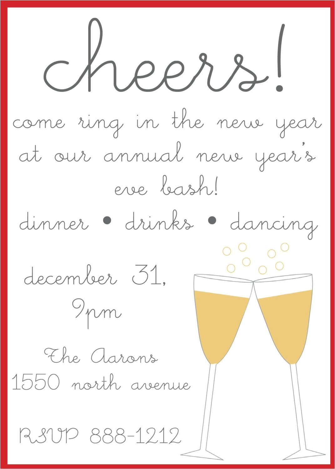 Wording for New Years Eve Party Invite New Year 39 S Eve Party Invitations by Nikkihodum On Etsy