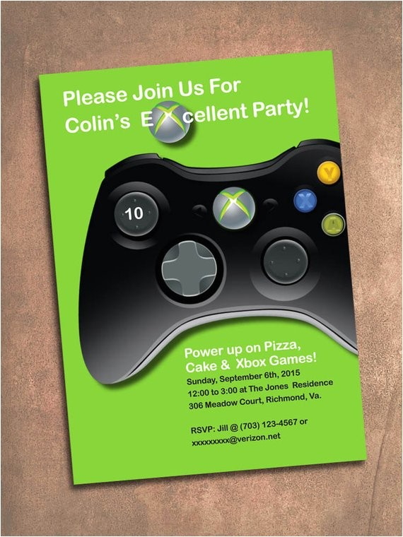 xbox birthday party invite digital file