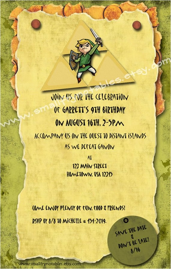 personalized legend of zelda theme party