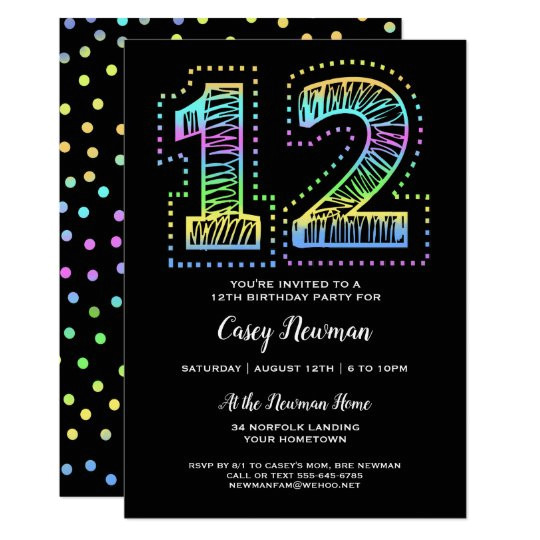 cool on black fun 12th birthday party invitation 256291412222592137