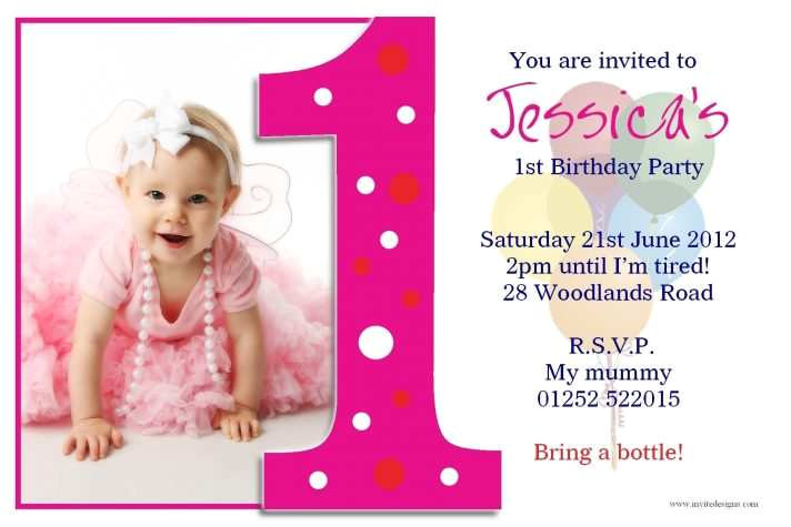 1st birthday invitation template vector