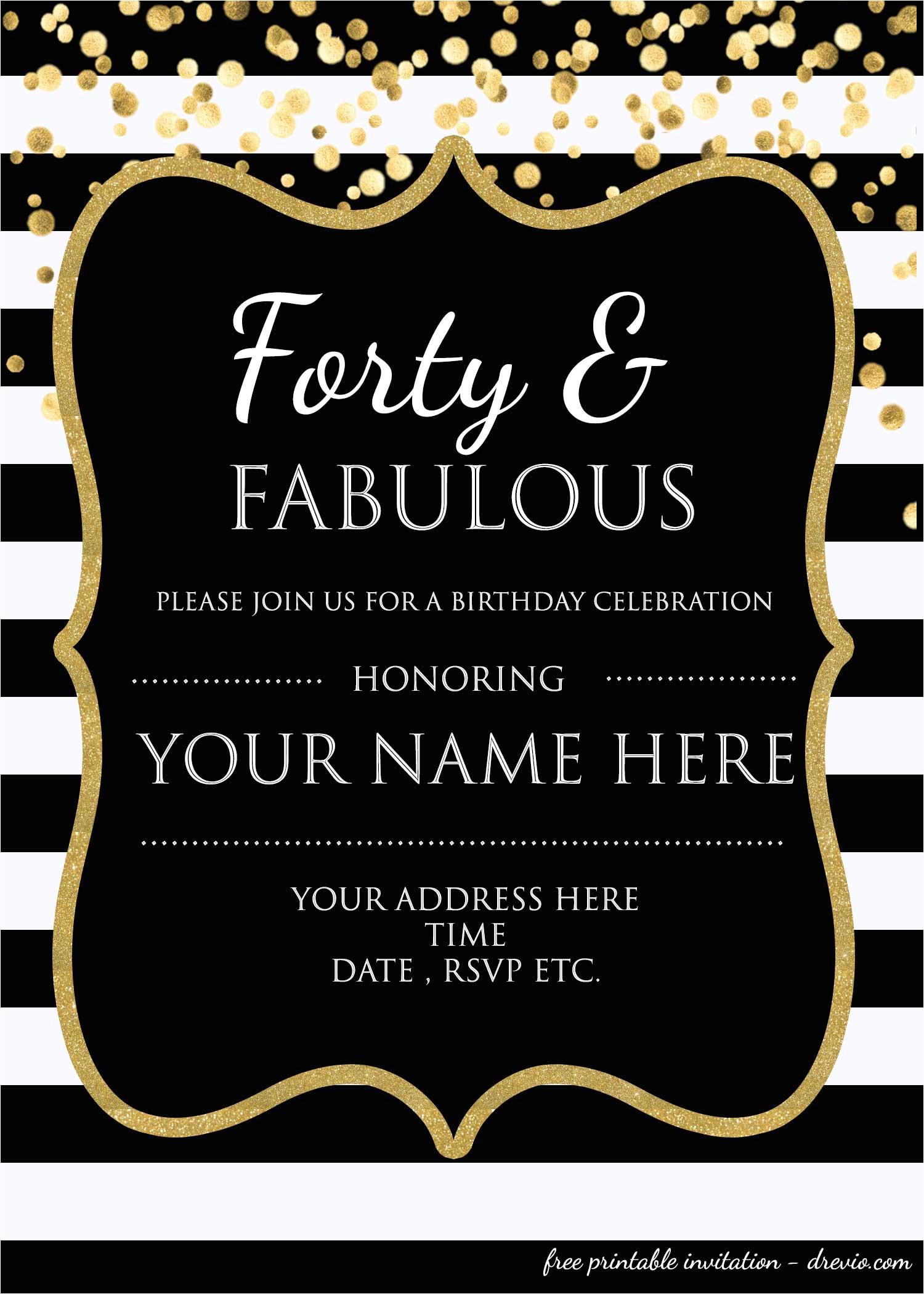 forty fabulous 40th birthday invitation template psd editable