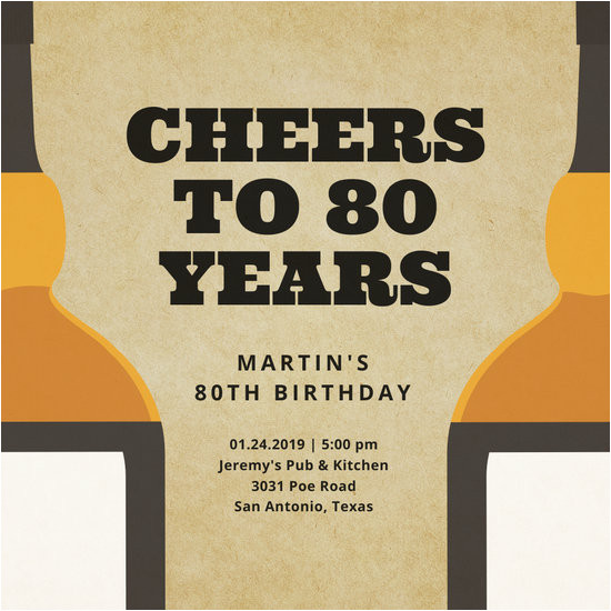 mac qcxvmcq black and gold 80th birthday invitation