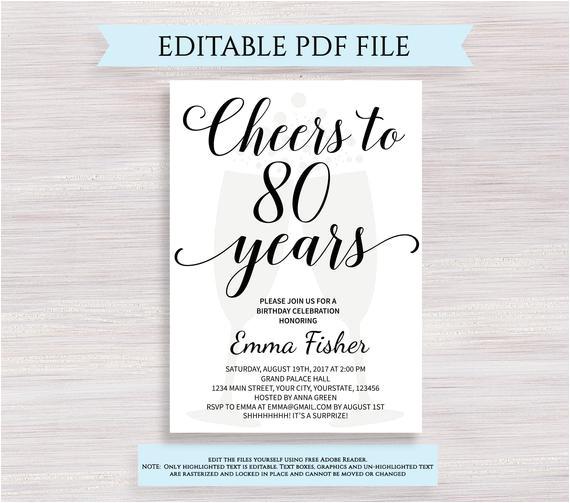 editable 80th birthday invitation