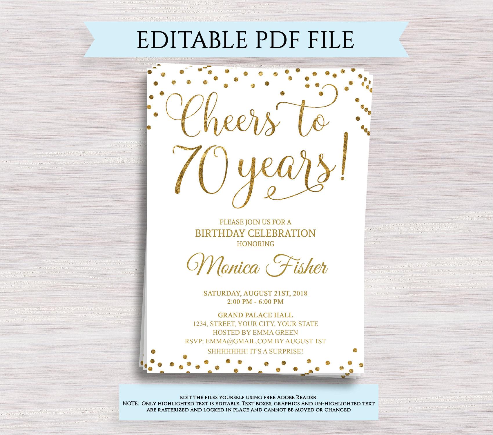 editable 70th birthday party invitation