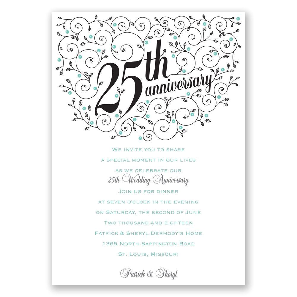 forever filigree 25th anniversary invitation