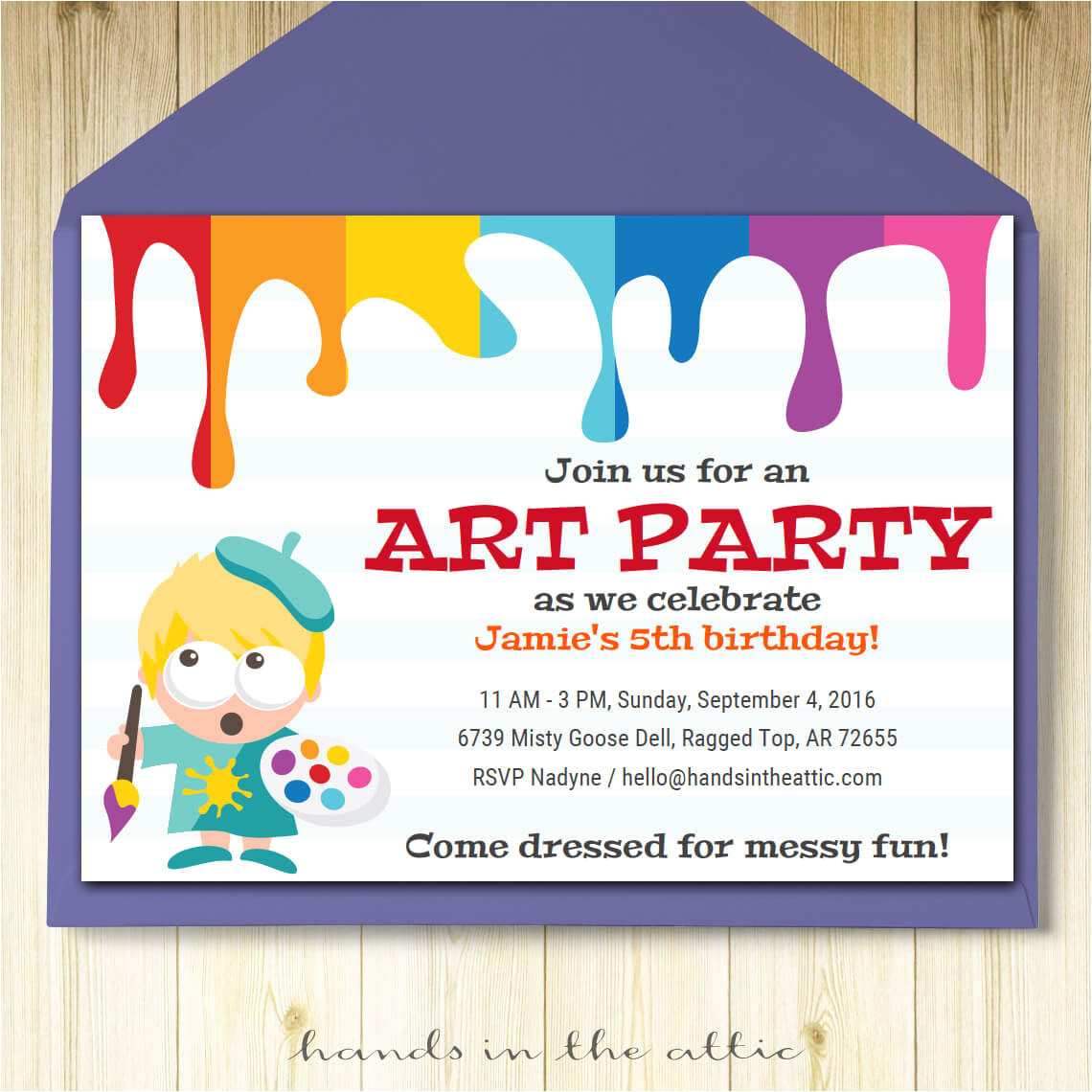 art party invitation card template