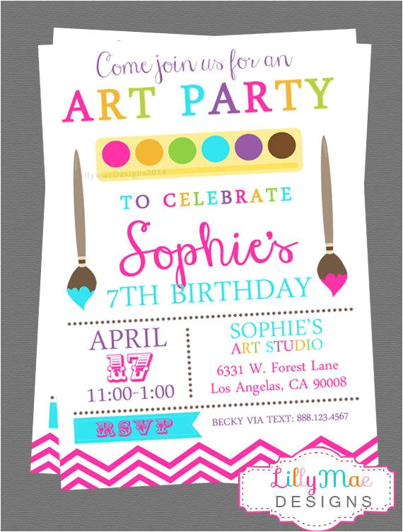 art party invitation digital file