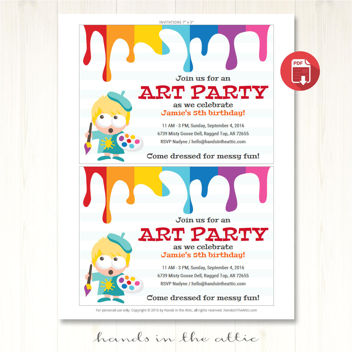 art party invitation printable template