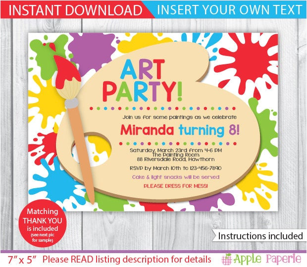 art party printable art party invitation