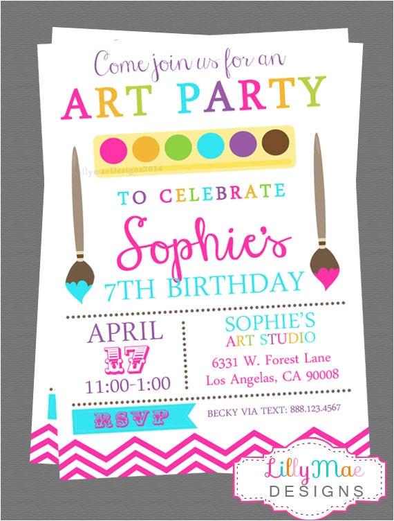 art party invitation digital file
