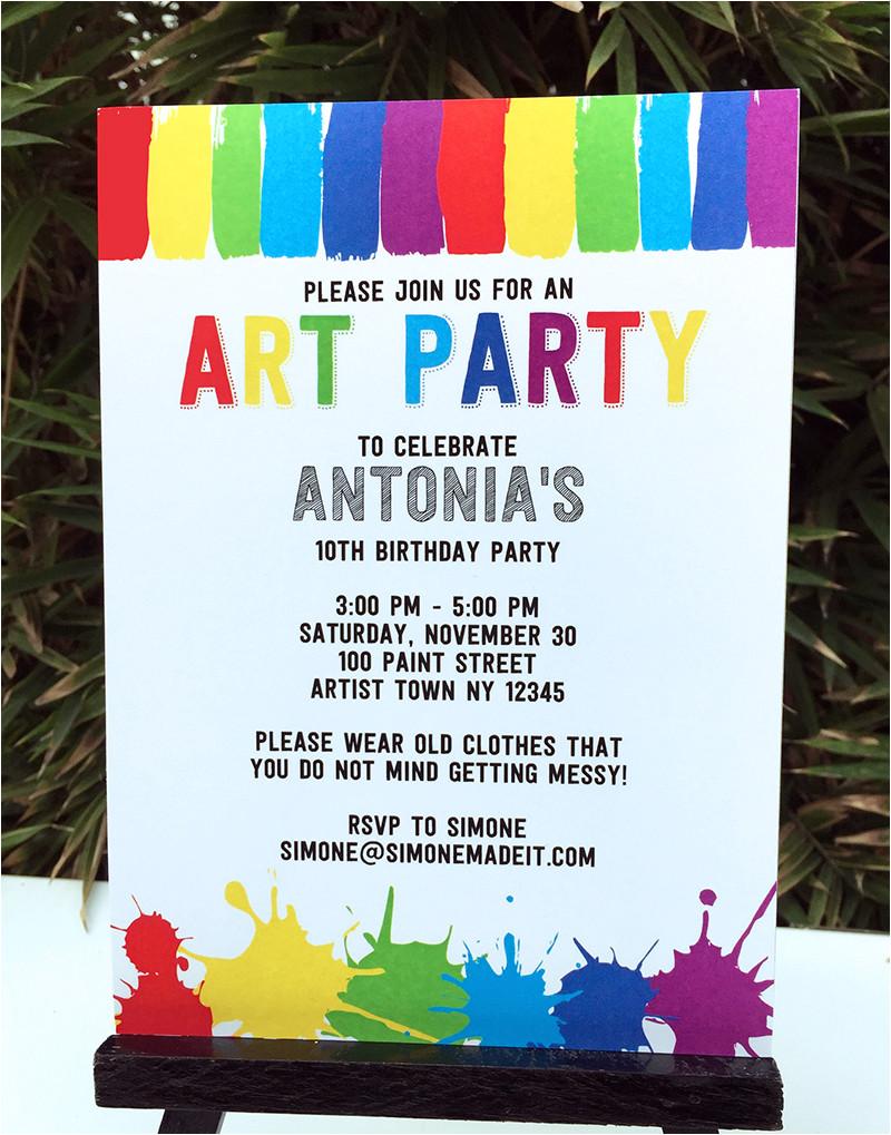 paint art party printables invitations